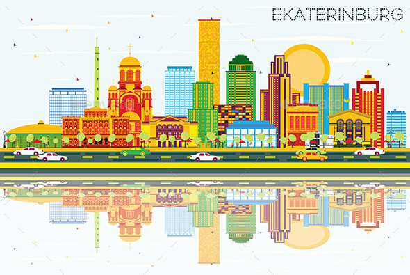 Ekaterinburg Skyline with Color Buildings, Blue Sky and Reflections. - Buildings Objects