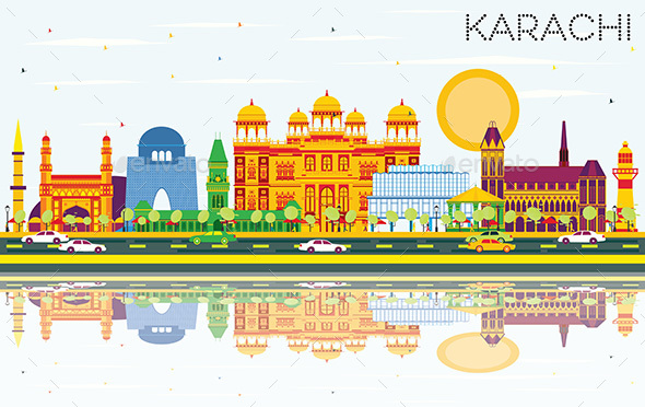 Karachi Skyline with Color Landmarks, Blue Sky and Reflections. - Buildings Objects