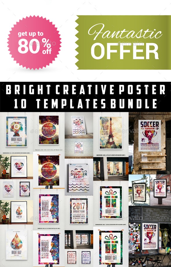 Bright Creative Poster Templates Bundle - Clubs & Parties Events