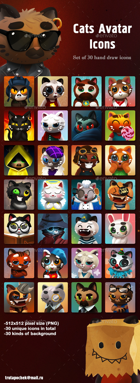 Cats Avatar Icons - Miscellaneous Game Assets