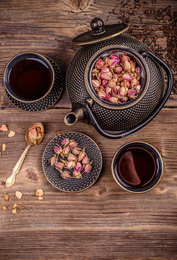 Cast iron tea set - Stock Photo - Images