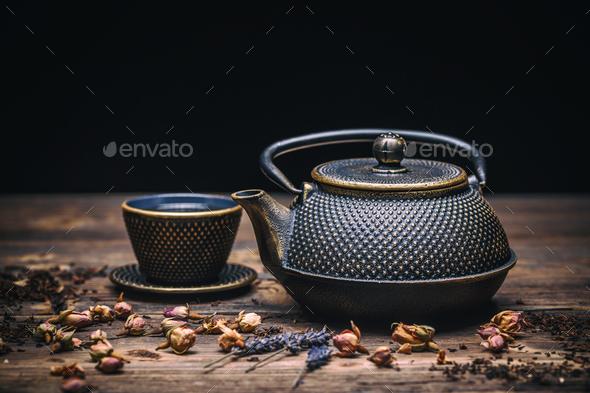Cast iron teapot - Stock Photo - Images