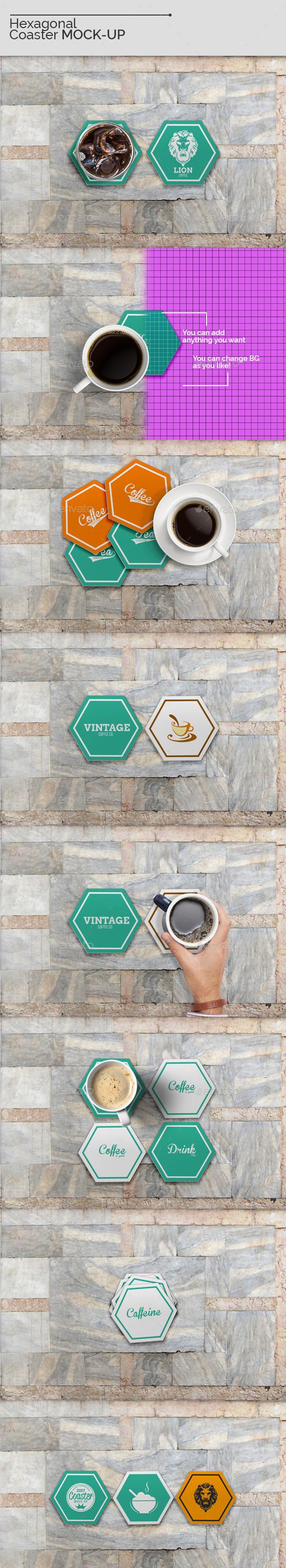Hexagonal Coaster Mock-Ups - Miscellaneous Product Mock-Ups