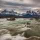 Sunset Over the Mountain River and Mountain Scenery. Parque Torres Del Paine, Patagonia, Chile - VideoHive Item for Sale