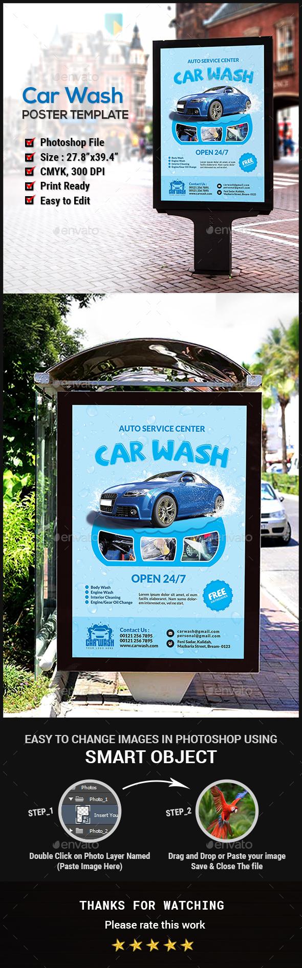 Car Wash Poster - Signage Print Templates