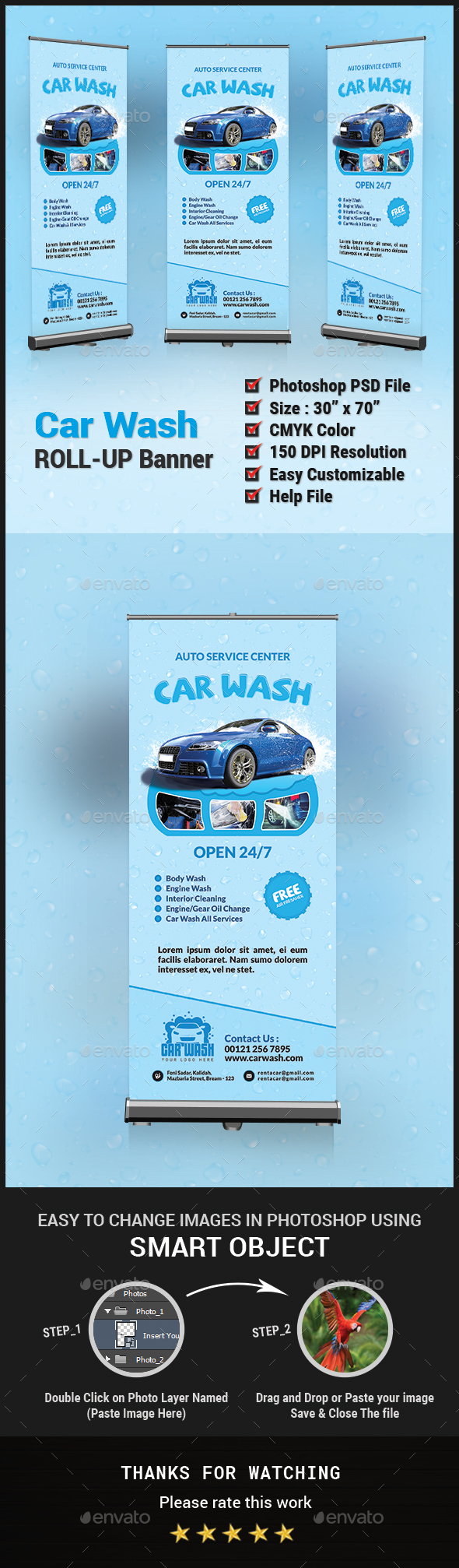 Car Wash Roll Up Banner - Signage - Signage Print Templates