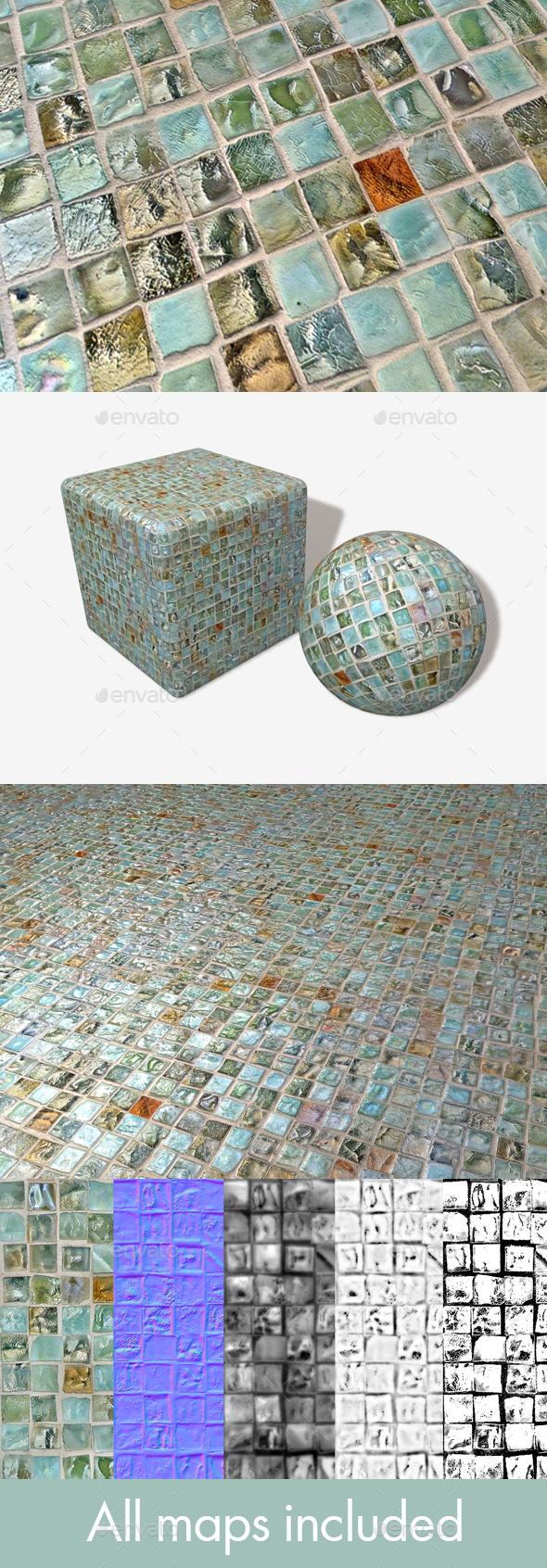 Decorative Mosaic Tiles Seamless Texture - 3DOcean Item for Sale