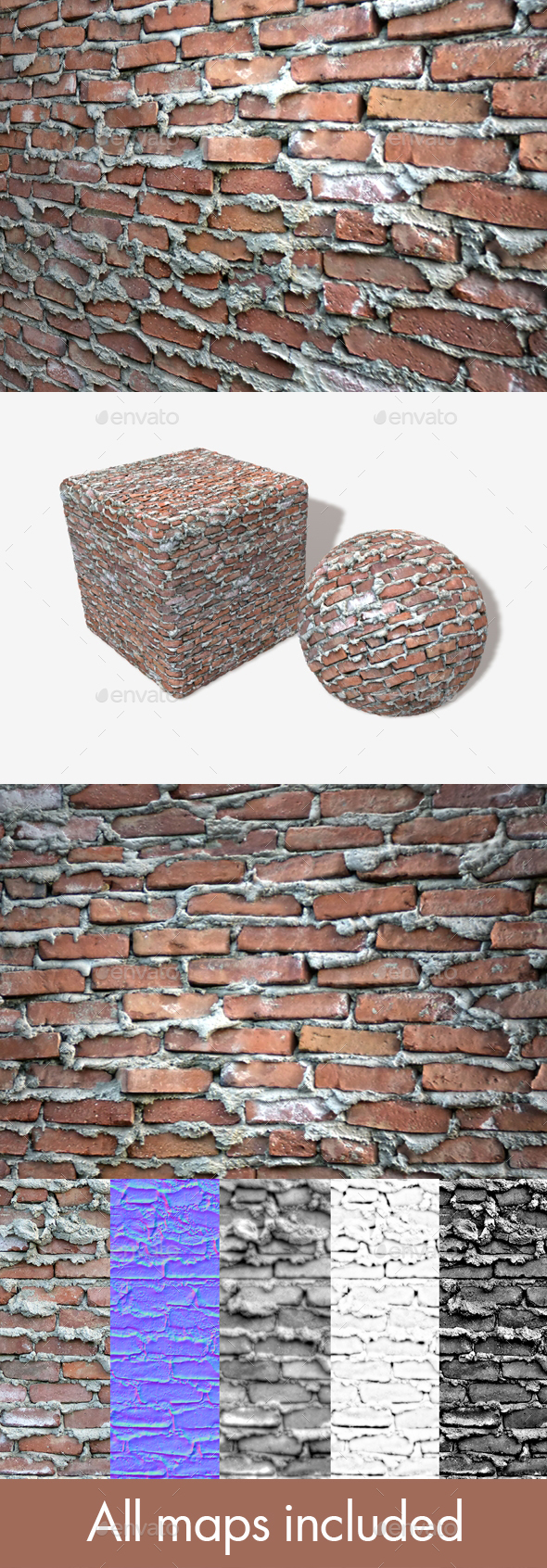 Extremely Bad Brickwork Seamless Texture 2 - 3DOcean Item for Sale
