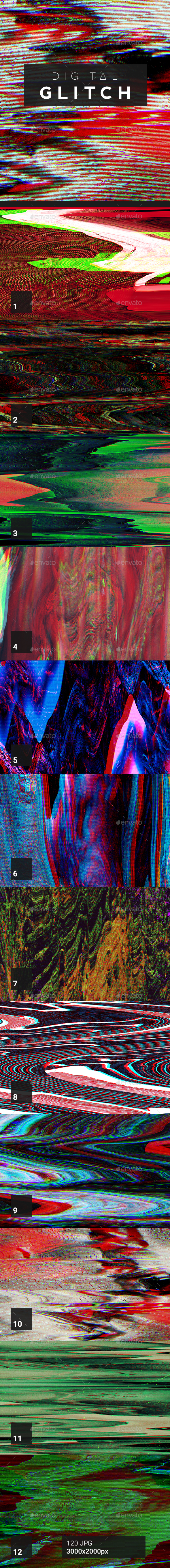 120 Digital Glitch Backgrounds - Abstract Backgrounds