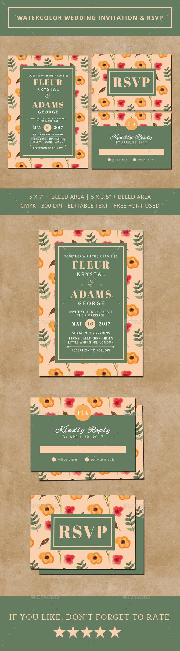 Watercolor Wedding Invitation & RSVP - Weddings Cards & Invites