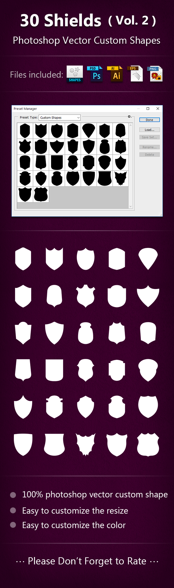 30 Shields Photoshop Vector Custom Shapes ( Vol.2 ) - Symbols Shapes