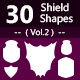 30 Shields Photoshop Vector Custom Shapes ( Vol.2 ) - GraphicRiver Item for Sale