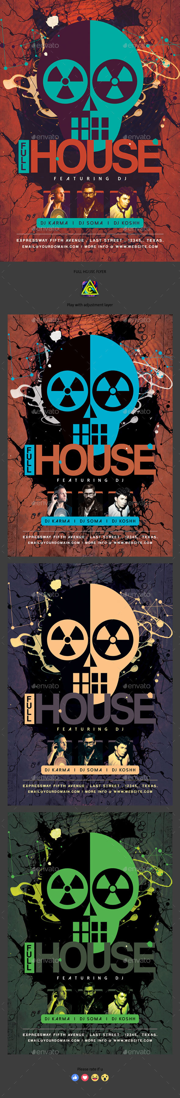 Full House Flyer - Clubs & Parties Events