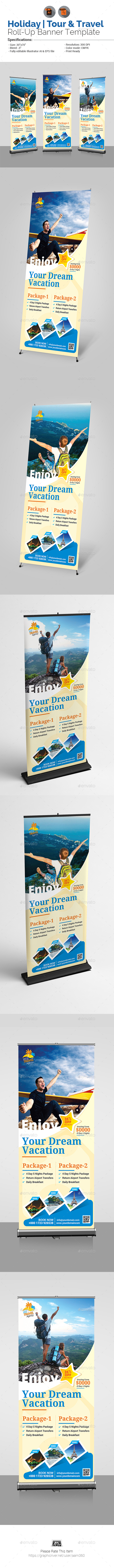 Holiday Tour & Travel Roll-Up Banner Template - Signage Print Templates