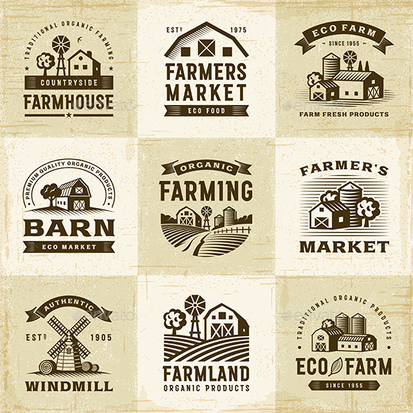 Vintage Organic Farming Labels Set - Decorative Symbols Decorative