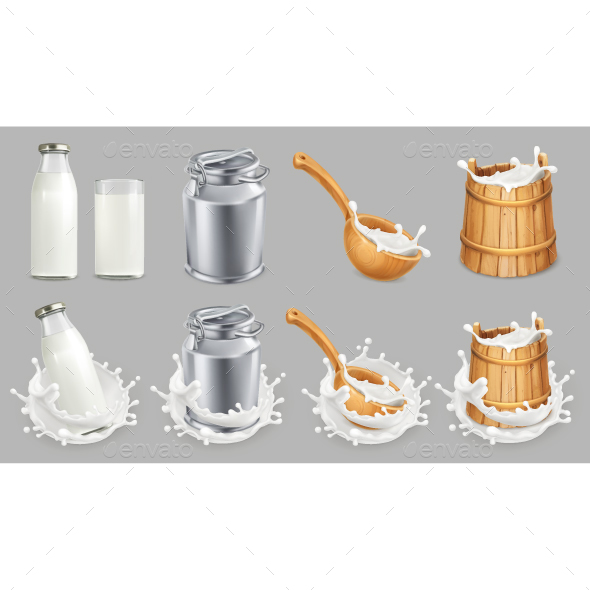 Milk Can and Splash - Food Objects