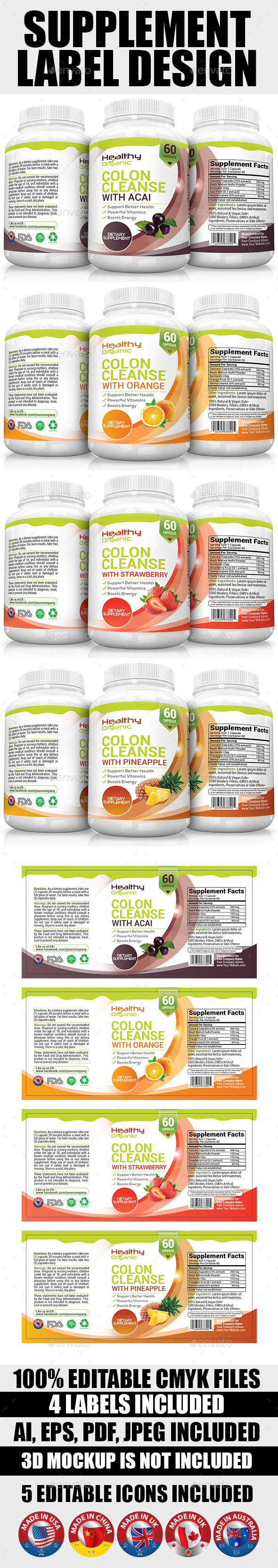 Supplement Label Template Vol-08 - Packaging Print Templates