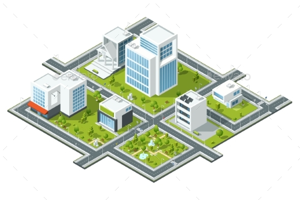 Isometric Illustration of Public Buildings - Buildings Objects
