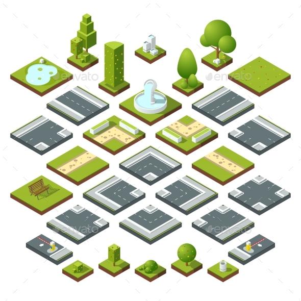 Set of Isometric City Elements - Miscellaneous Vectors