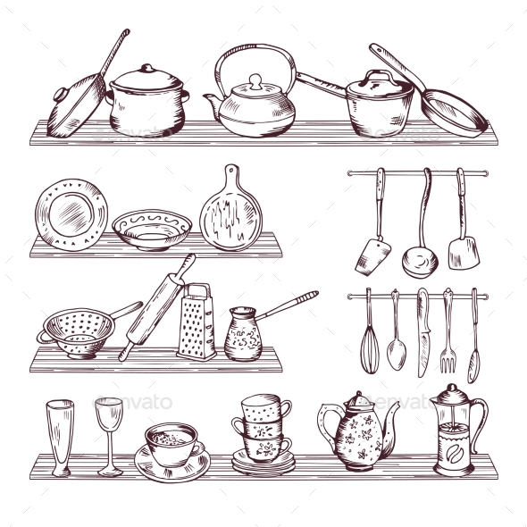 Kitchen Wooden Shelves with Different Tools - Man-made Objects Objects