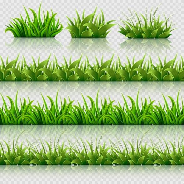 Green Grass Vector Seamless Borders Set - Borders Decorative