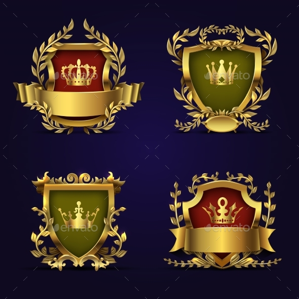 Royal Heraldic Vector Emblems in Victorian Style - Decorative Symbols Decorative