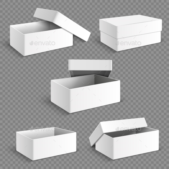 Blank White Packaging Paper Boxes - Man-made Objects Objects