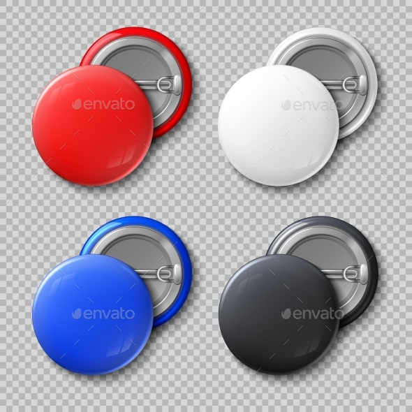Advertise Blank Color Round Metal Buttons - Man-made Objects Objects