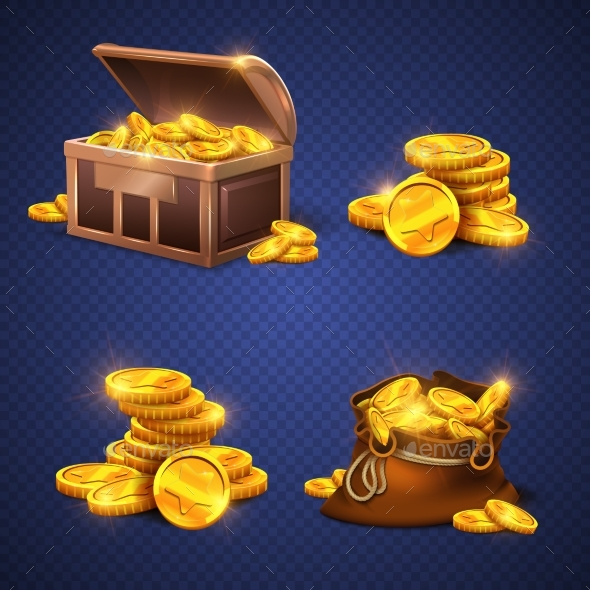 Wooden Chest and Big Old Bag with Gold Coins - Man-made Objects Objects
