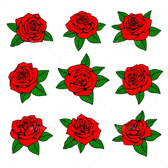 Red Roses with Green Leaves - Organic Objects Objects