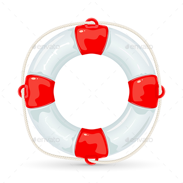 Lifebuoy on White Background - Man-made Objects Objects