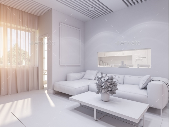 3d Render of the Interior Design Living Room - Architecture 3D Renders