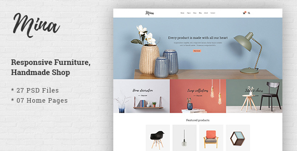 Mina - Responsive Furniture, Handmade Shop & Blog PSD Template