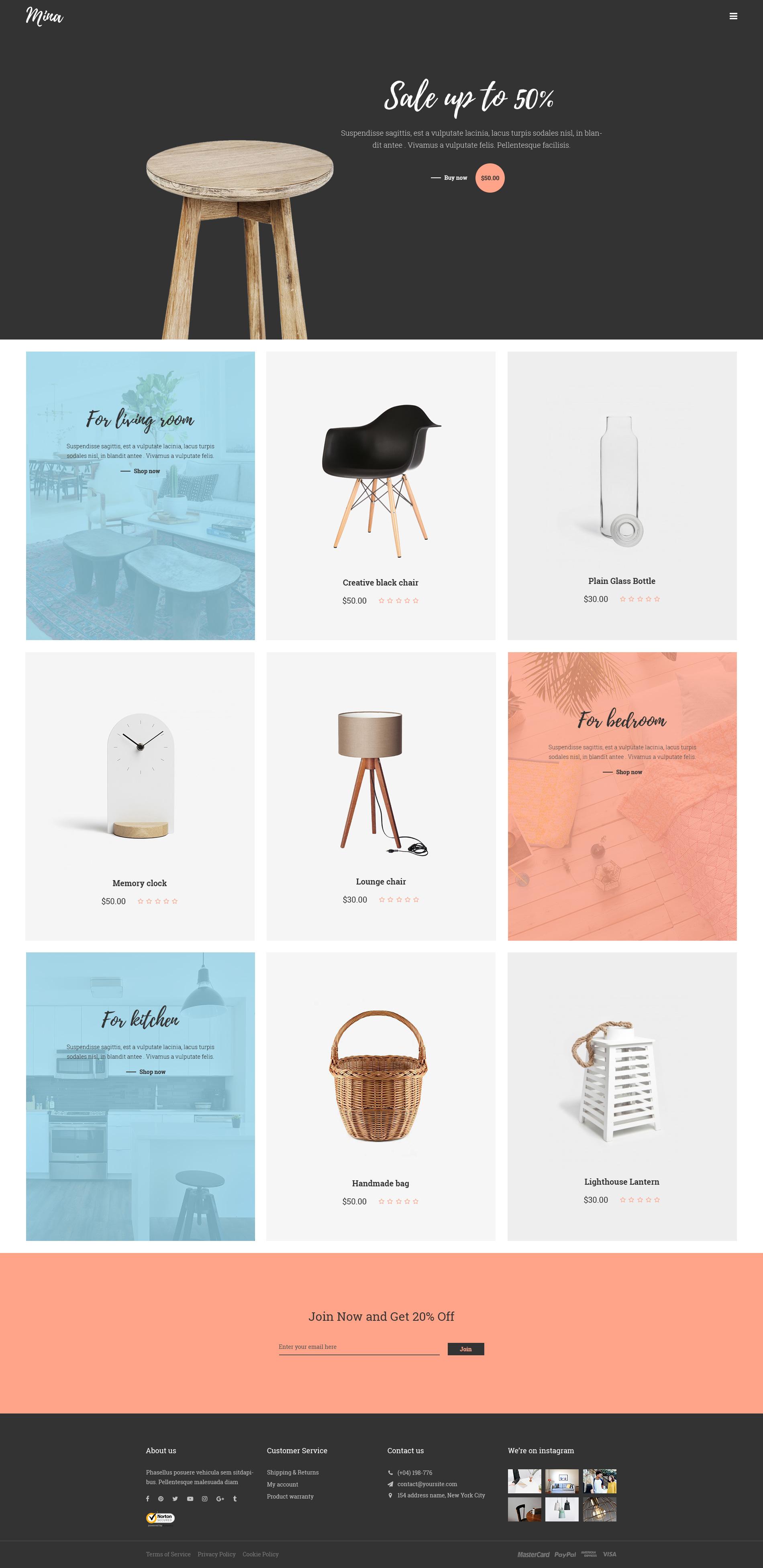 Mina Responsive Furniture Handmade Shop & Blog PSD Template by