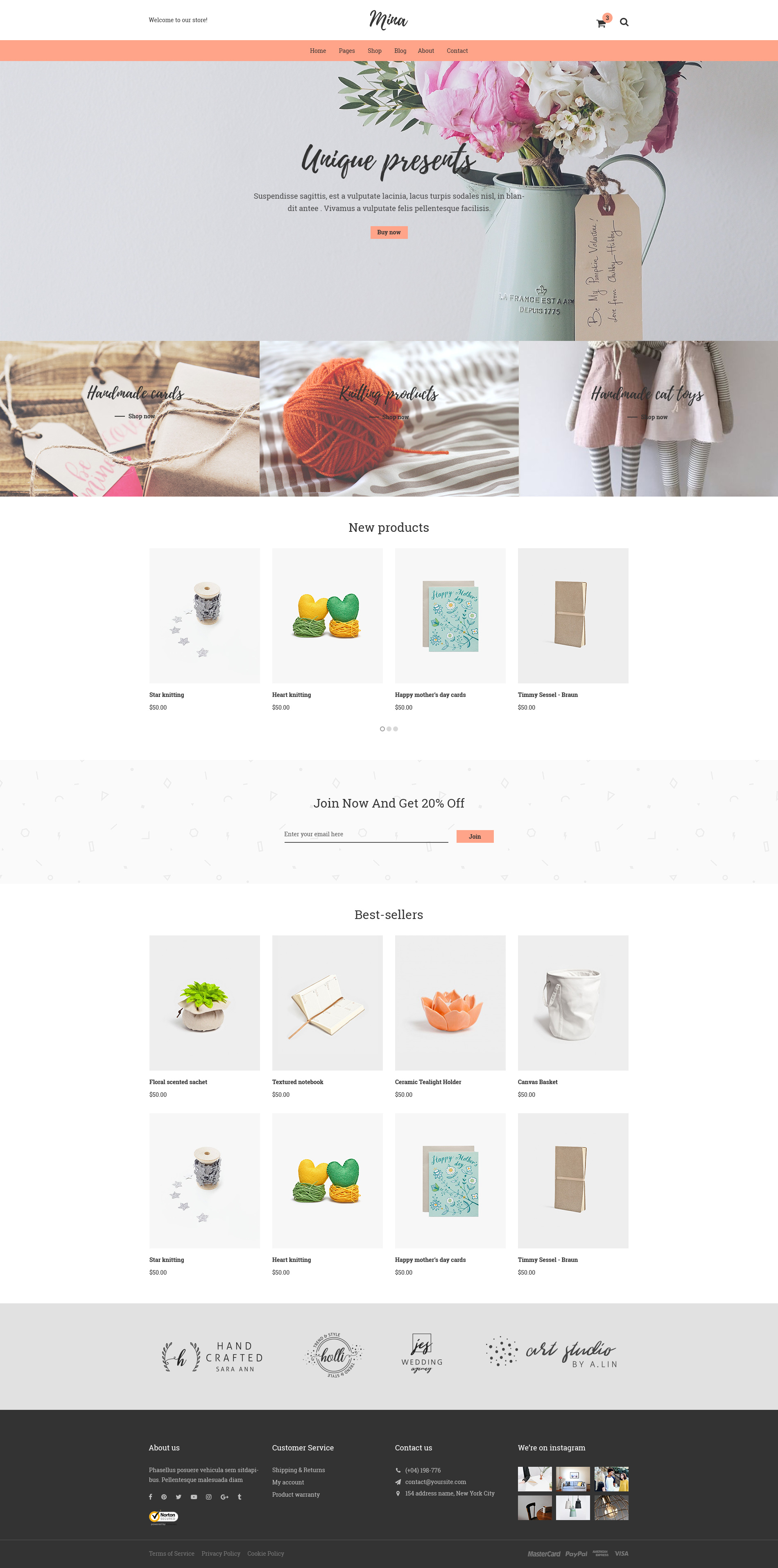 Mina Responsive Furniture Handmade Shop & Blog PSD Template by
