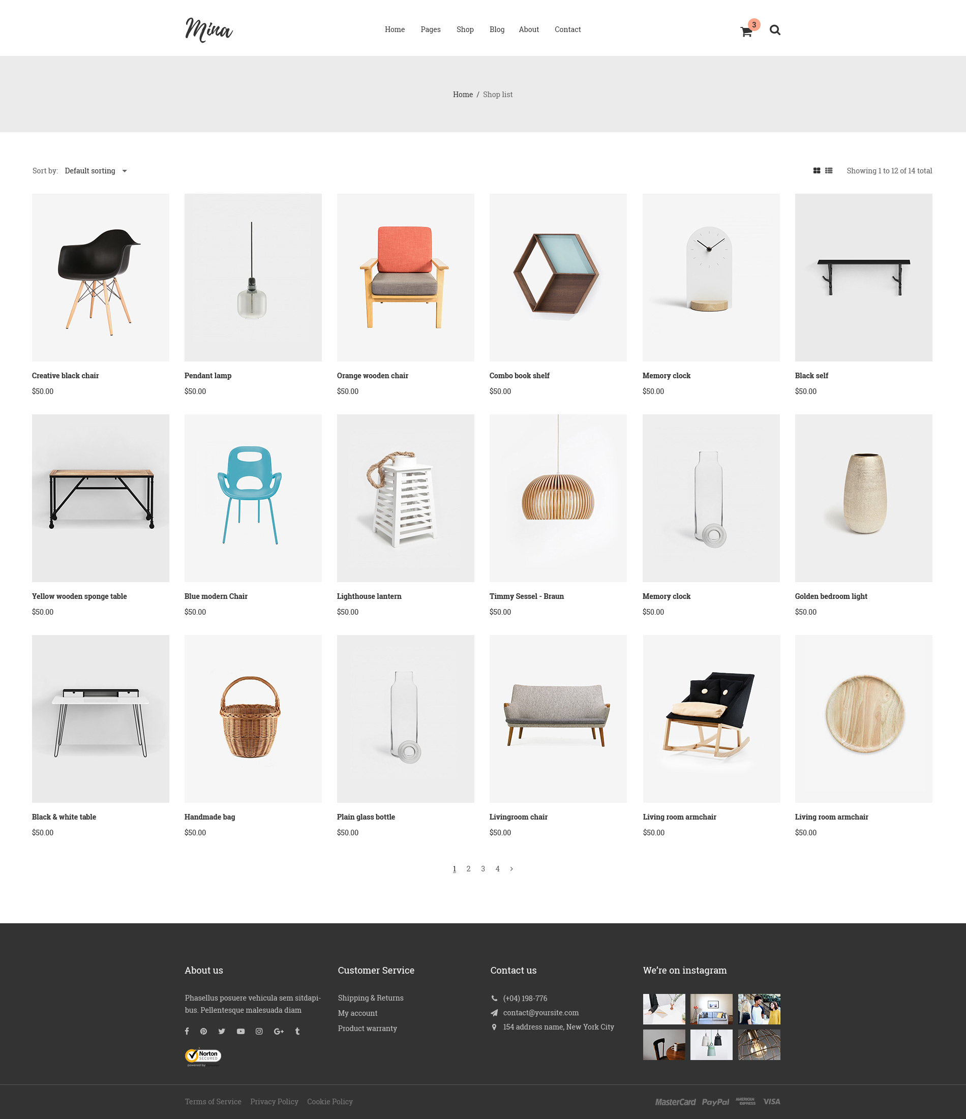 Mina - Furniture Shop PSD Template By AuThemes