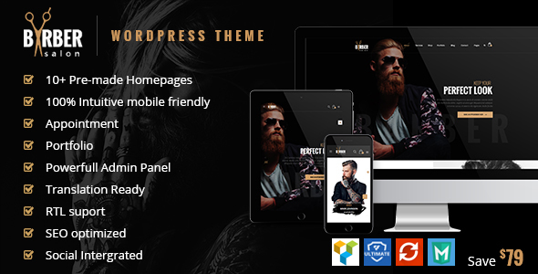 Barber - Hair, Tattoo & Beauty Salons WordPress Theme - Health & Beauty Retail
