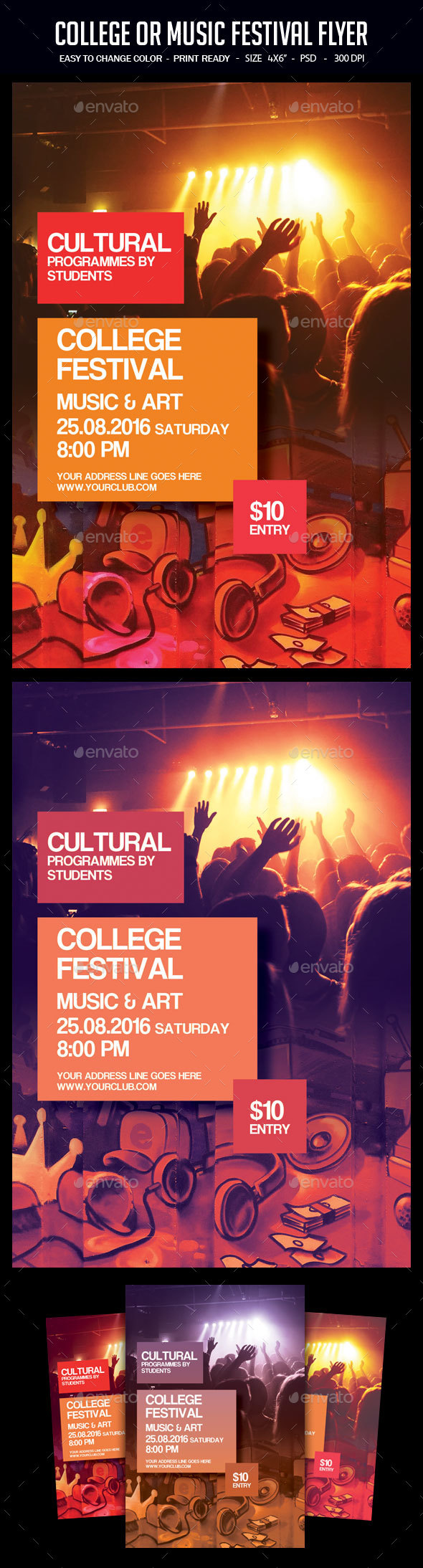 College Or Music Festival Flyer - Clubs & Parties Events