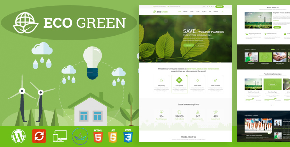 Eco Green – WordPress Theme for  Environment, Ecology and Renewable Energy Company