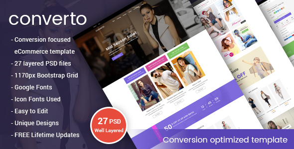Converto - Conversion Optimized eCommerce PSD Template - Fashion Retail