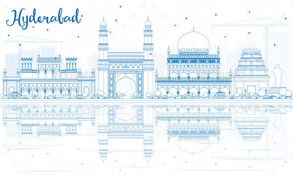 Outline Hyderabad Skyline with Blue Landmarks and Reflections. - Buildings Objects