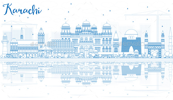 Outline Karachi Skyline with Blue Landmarks and Reflections. - Buildings Objects