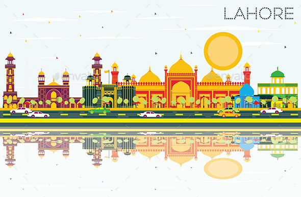 Lahore Skyline with Color Landmarks, Blue Sky and Reflections. - Buildings Objects