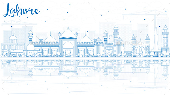 Outline Lahore Skyline with Blue Landmarks and Reflections. - Buildings Objects