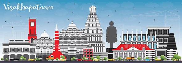 Visakhapatnam Skyline with Gray Buildings and Blue Sky. - Buildings Objects