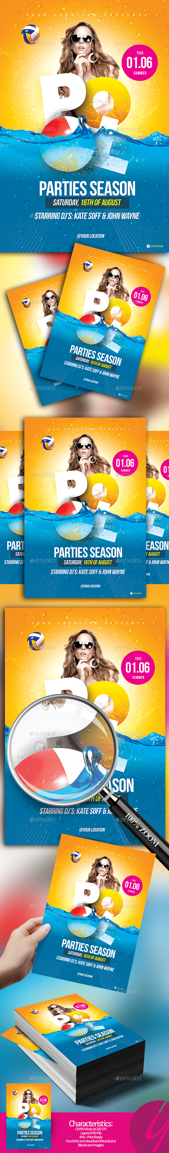 Pool Parties Season Flyer - Clubs & Parties Events