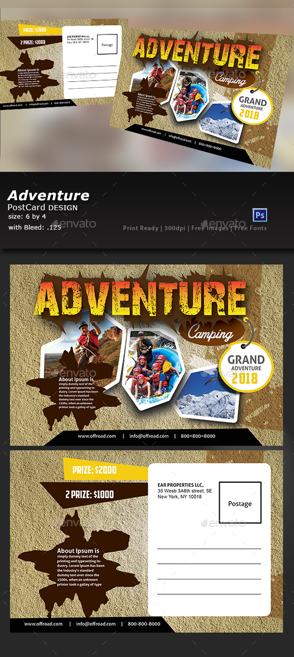 Camping Adventure Post Card - Cards & Invites Print Templates
