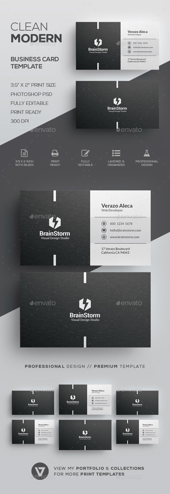 Clean Business Card Template - Corporate Business Cards