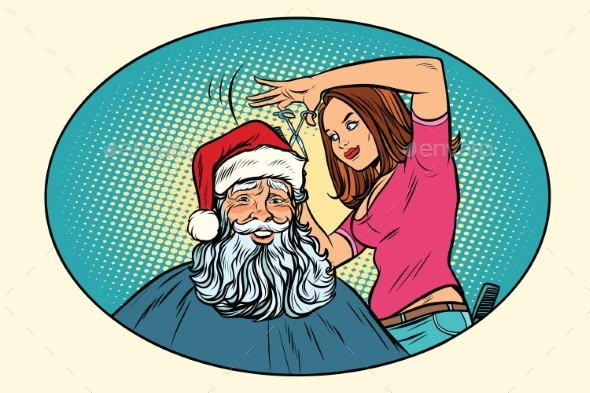 Santa Claus at the Barber - Seasons/Holidays Conceptual