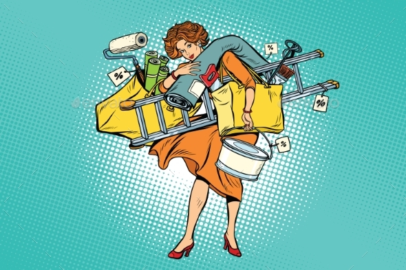 Woman with Shopping Repair Tools - People Characters